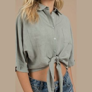 Tobi Linen Blend Tie Front Cropped Shirt Top Small